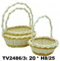 Корзинка круглая ротанговая (бело-желтая) 3 в 1 TV2486/3-V