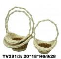 Корзинка ротанговая 3 в 1 (белый и коричневый) TV291/3-N