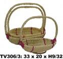 Корзинка овальная (бело + розовый) 3в1 TV306/3-T
